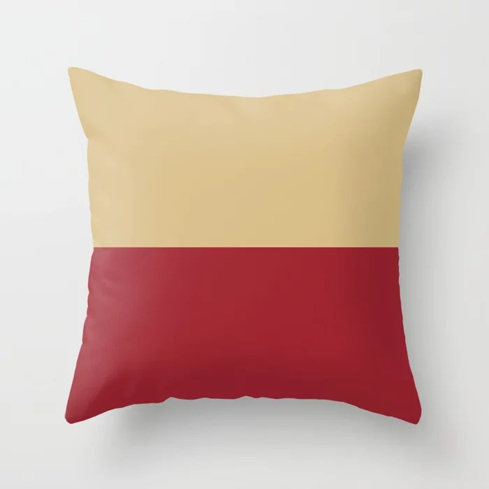 Red and Beige Minimal Line Pattern 2021 Color of the Year Satin Paprika and Sunlit Brass Throw Pillow