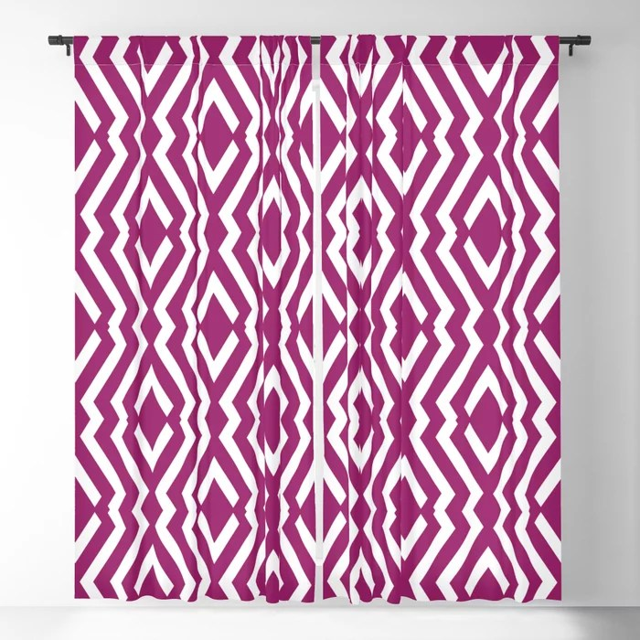 Magenta and White Diamond Zig Zag Ripple Pattern - Colour of the Year 2022 Orchid Flower 150-38-31 Blackout Curtain - 2022 color trends interior design