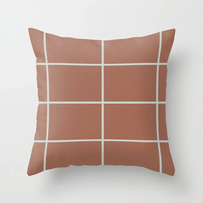 Mint Green and Terracotta Thin Check Pattern Behr 2022 Color of the Year Breezeway MQ3-21 Throw Pillow. 2022 color scheme, trending interior design hue.