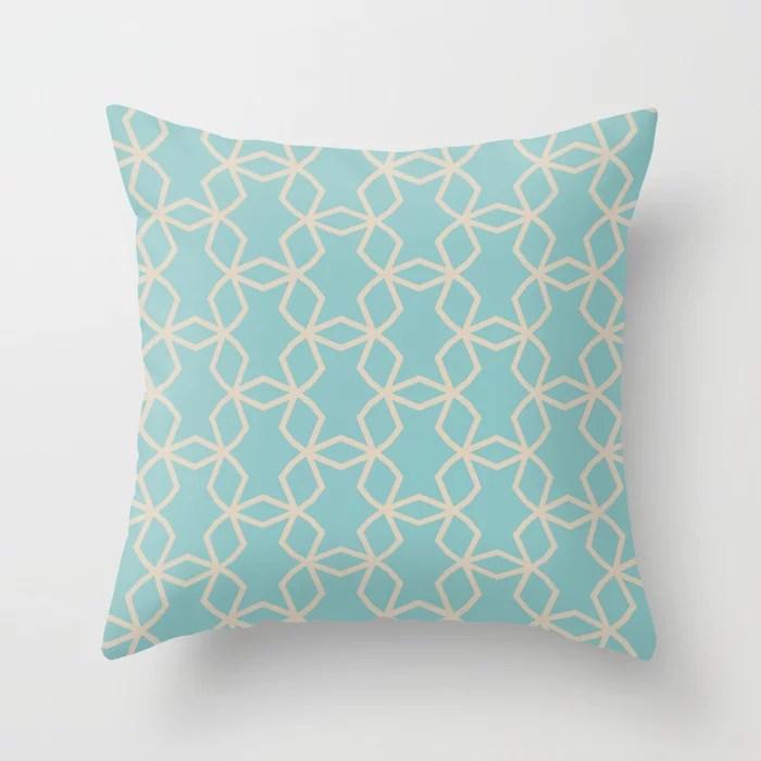 Aquamarine Beige Geometric Mosaic Pattern V2 Color of the Year Aqua Fiesta and Sourdough Throw Pillow