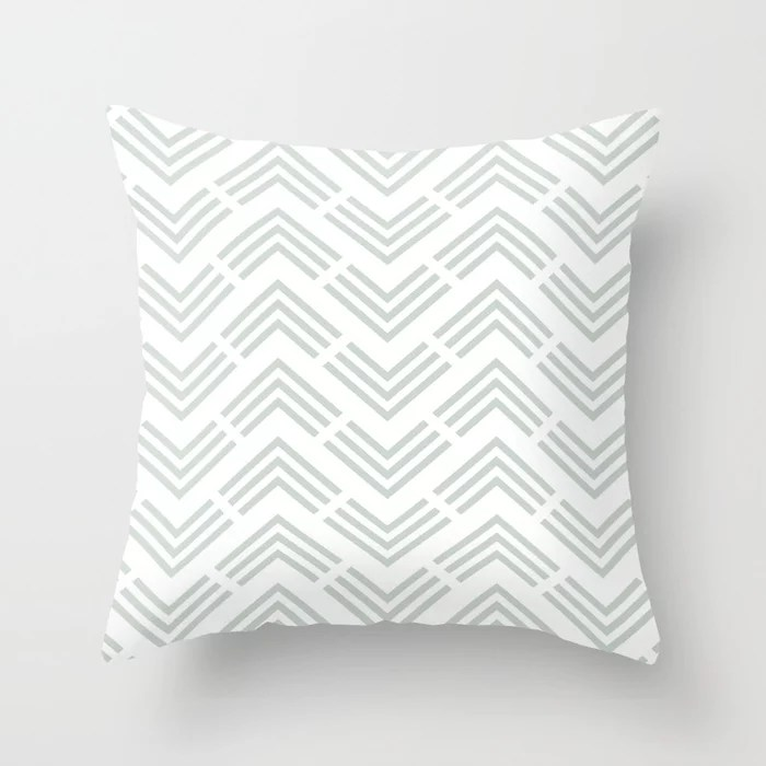 Pastel Green and White Chevron Rhombus Pattern Throw Pillow Pairs Behr 2022 Color of the Year Breezeway MQ3-21 Throw Pillow. 2022 color scheme, trending interior design hue.