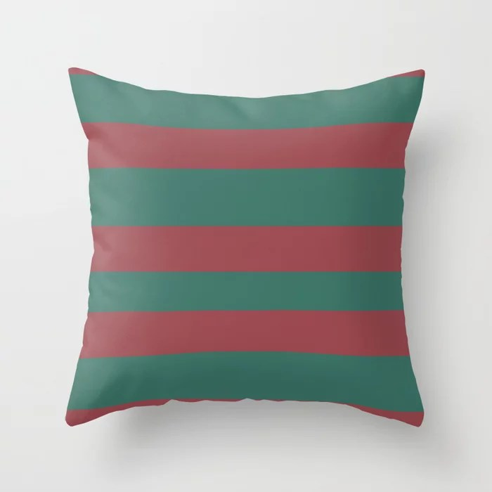 Red and Green Wide Horizontal Stripe Pattern 2021 Color of the Year Passionate & Cloverfields Throw Pillow