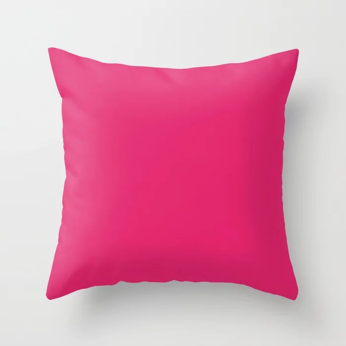 From The Crayon Box – Inspired by Razzmatazz - Bright Pink Solid Color Throw Pillow