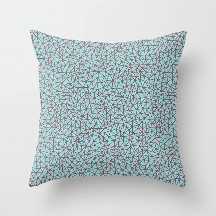 Red and Pastel Blue Triangle Shape Pattern 2021 Color of the Year Passionate & Breezy Aqua Throw Pillow