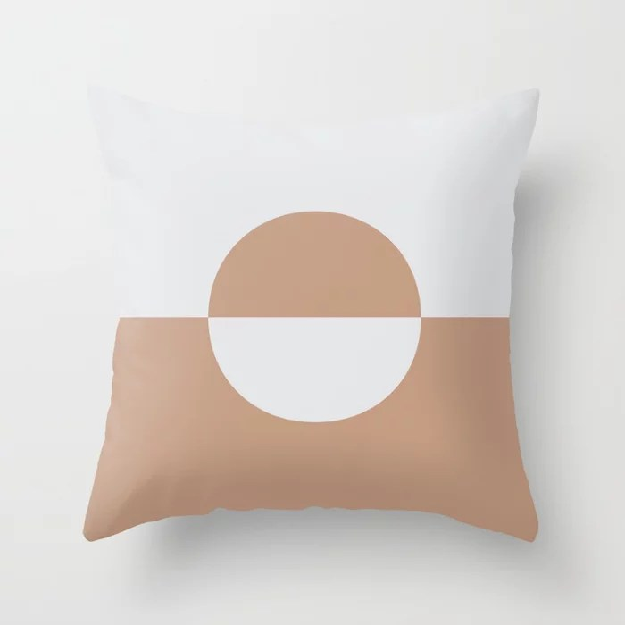Sand Storm Beige Pale Gray Circle Design 2 Behr 2021 Color of the Year Canyon Dusk Dutch White Throw Pillow