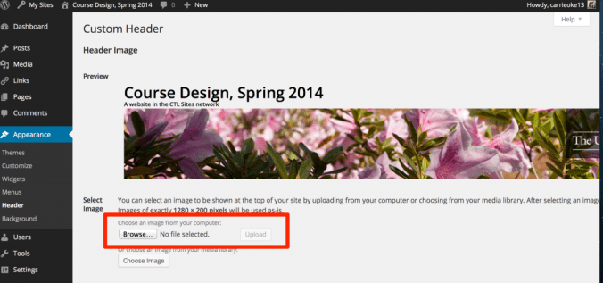 Screenshot highlighting the Browse button on the Custom header page