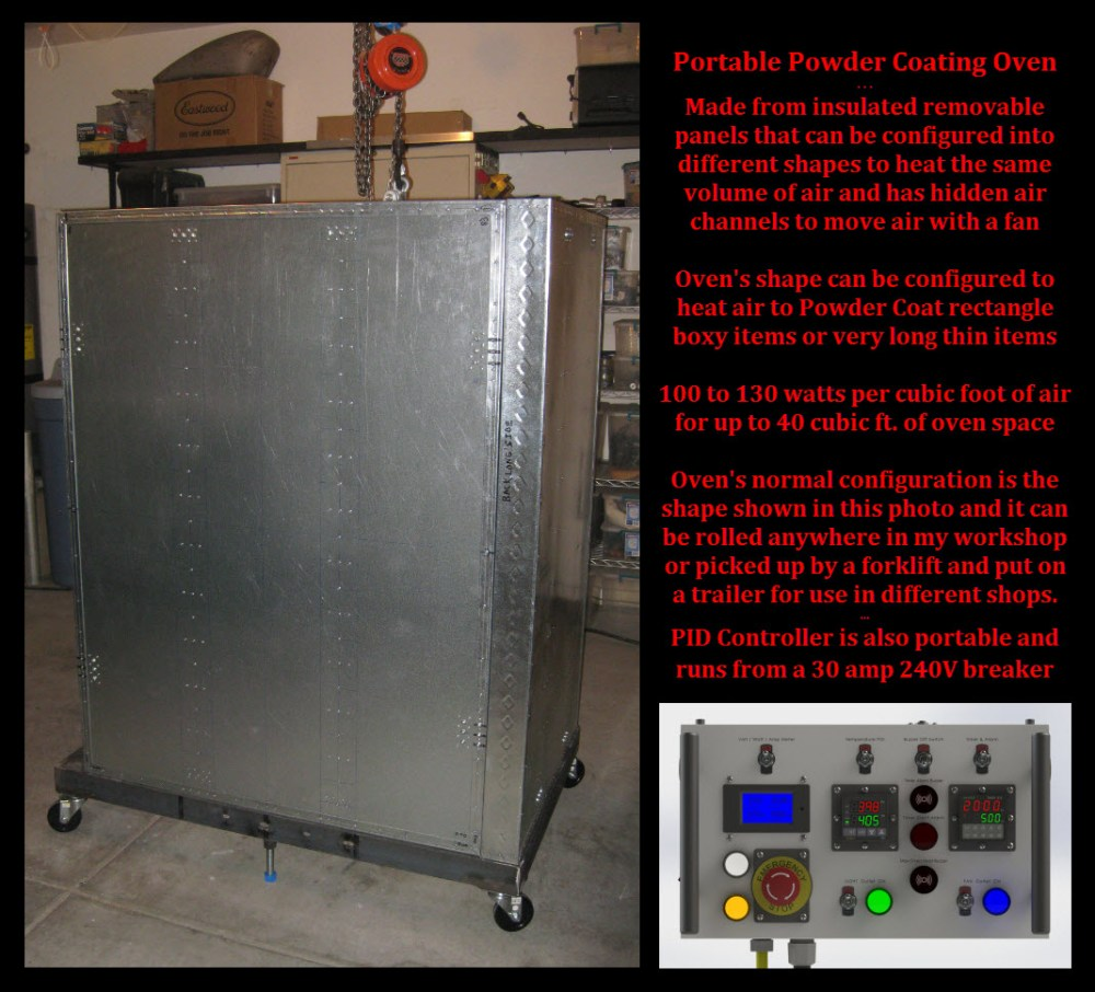 medium resolution of powder coating oven on wheels allowing to to be moved anywhere in shop
