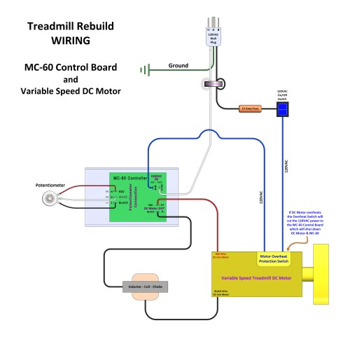 small resolution of treadmill rebuild wiring using a mc 60 control board with dc motor
