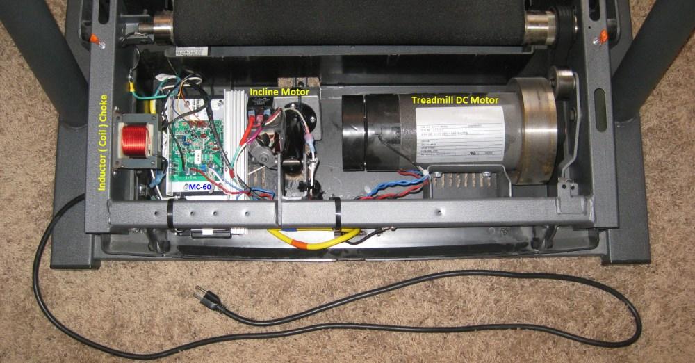 medium resolution of wiring inside finished treadmill using the mc 60 control board