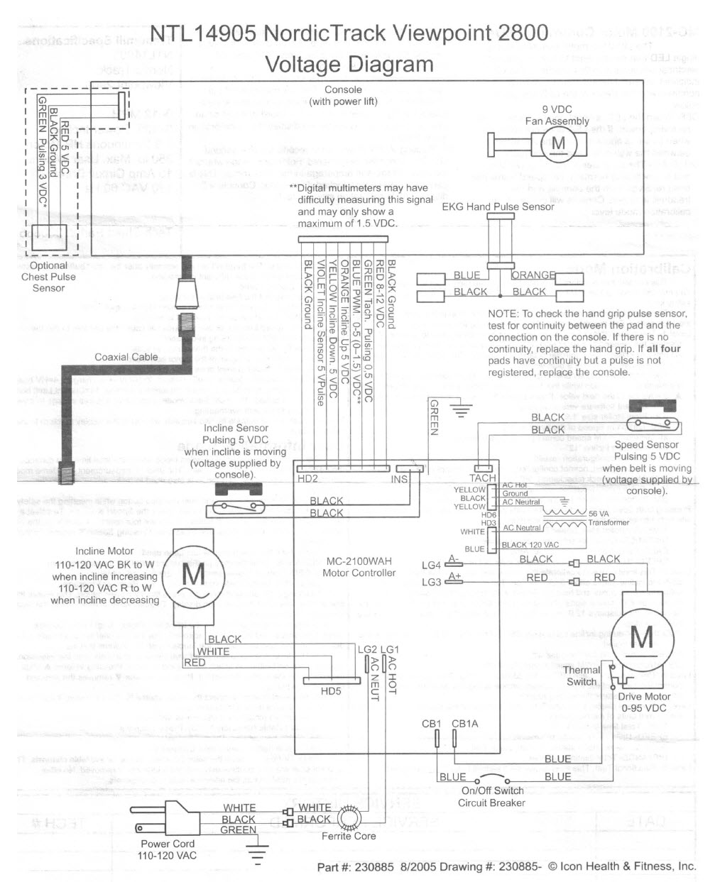 hight resolution of voltage diagram that came with the nordictrack viewpoint 2800 treadmill