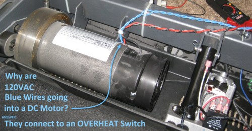 small resolution of blue wires on the treadmill dc motor connect to overheat switch