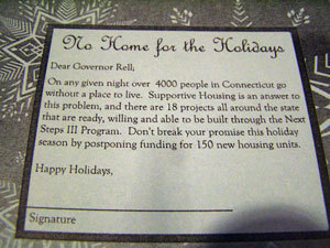 Cards handed out at Rell's residence this weekend