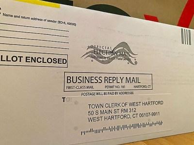 An absentee ballot envelope for West Hartford.
