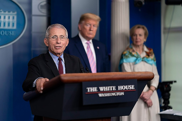 Dr. Anthony Fauci, President Donald Trump, and Dr. Deborah Birx