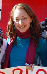 Denisa Jashari at Oct. 11 rally