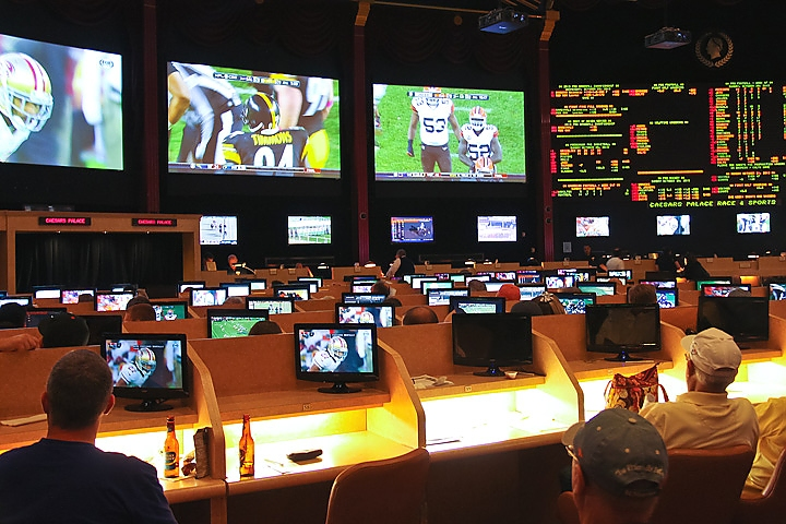 Sports betting at Caesar's Palace in Las Vegas.