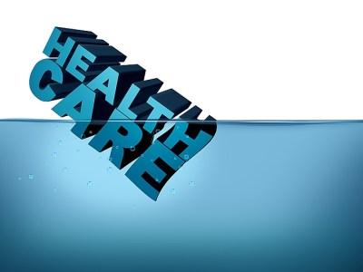 Health care sinking illustration, rising healthcare costs, prescription drug prices