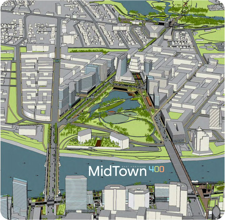 "From the Hartford400 plan, an illustration of a new ""Midtown"" after changes to the mixmaster highway interchange on the East Hartford side of the Connecticut River."