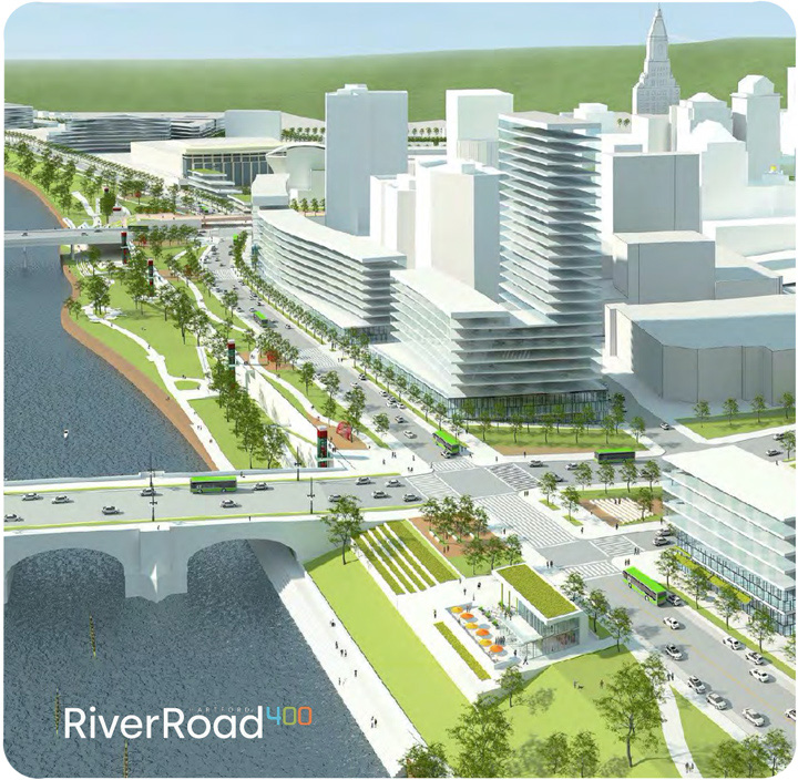 From the Hartford400 plan: An illustration of the River Road design on the Hartford side of the Connecticut River.