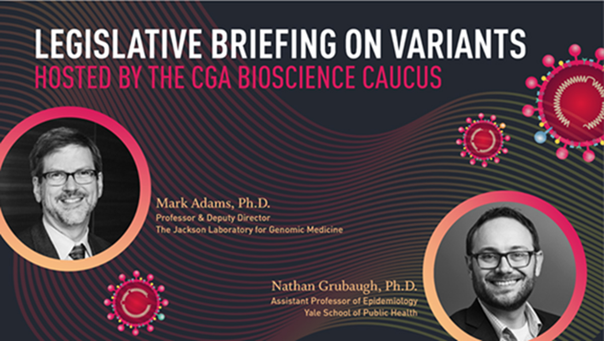 Invite image for Bioscience Caucus legislative briefing on COVID-19 variants, April 29, 2021
