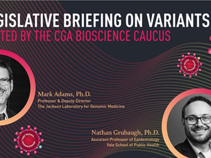 Invite image for Bioscience Caucus legislative briefing on COVID-19 variants, April 29, 2021
