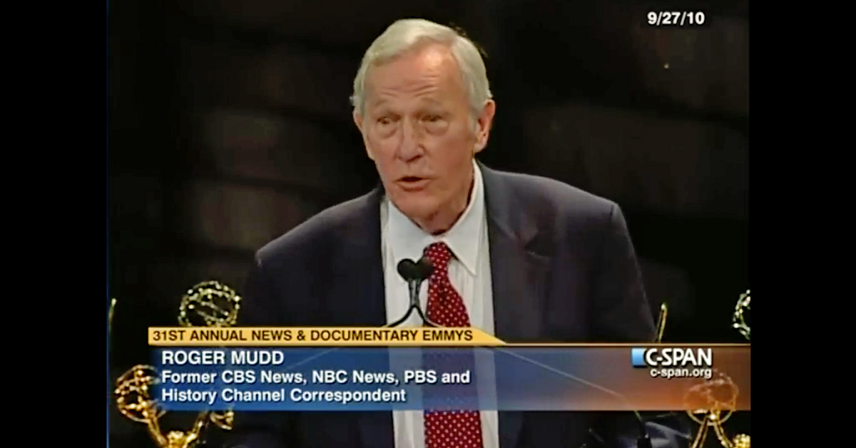 Image of Roger Mudd speaking on CSPAN during the 31st annual News and Documentary Emmy Award Ceremony held at the Lincoln Center in New York City on Sept. 27, 2010. (Screengrabbed from CSPAN)