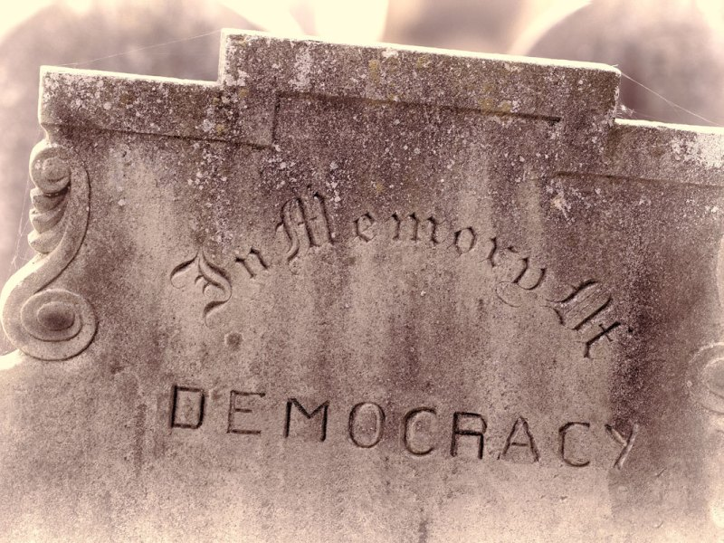 In memory of Democracy. Coup Attempt. Failed democracy chaos concept.