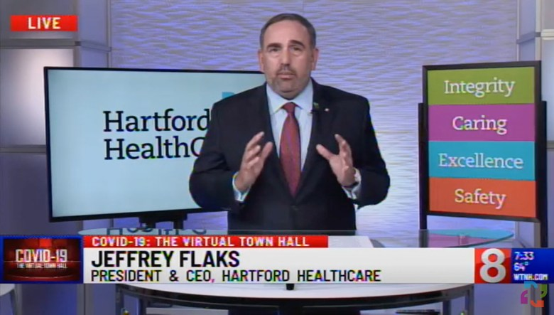 Hartford HealthCare President & CEO Jeffrey Flaks appears on WTNH on May 18, 2020.