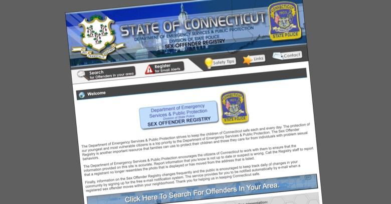Screengrab of Connecticut's sex offender registry website