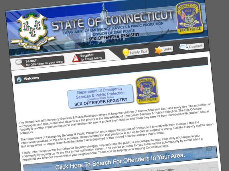 A screengrab of Connecticut's sex offender registry website.