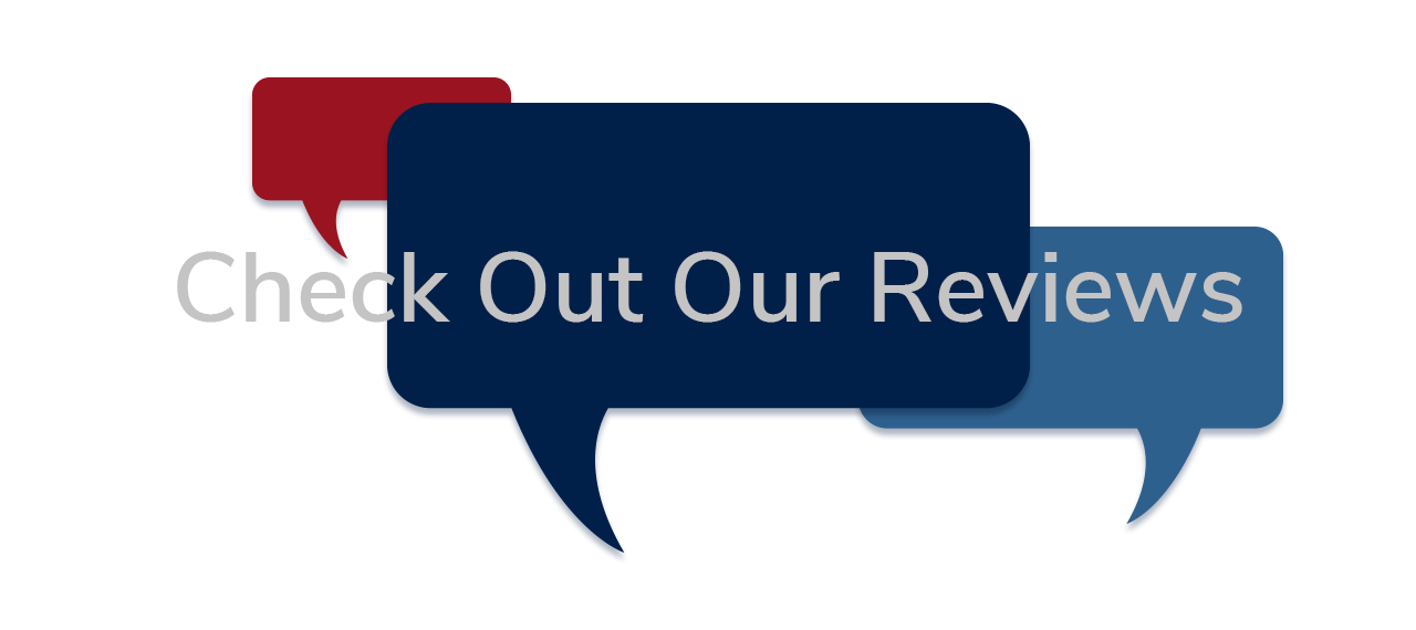Check Out Our Reviews - text over thought/talk bubble graphic