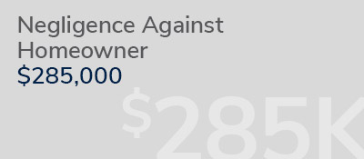 Graphic: negligence against homeowner with recovery of $285,000