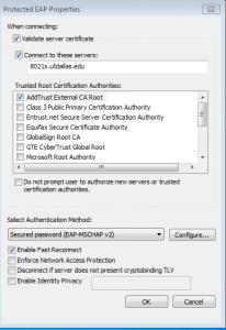 Validate Certs? Check.  Radius Server Defined? Check. Lookin' Good!