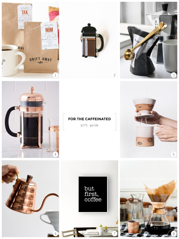 Coffee addict in your life or need a pick me up gift for yourself? Check out ctrl+curate's gift guide for the caffeinated.