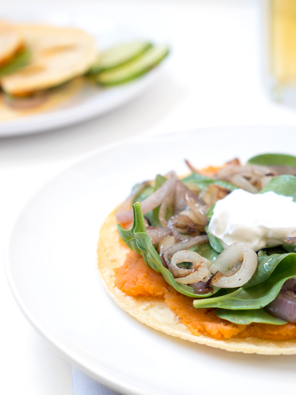 sweet potato quesadillas, spinach, shallots, greek yogurt, easy lunch