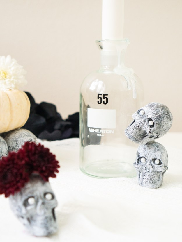 faux stone skull display