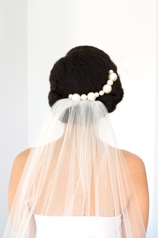 Curls and Pearls Natural Wedding Updo AKA The Modern Mermaid