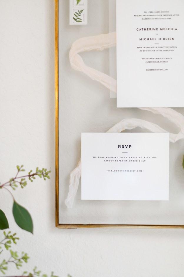 Valentine's Day Gift Idea, Framed Wedding Stationary