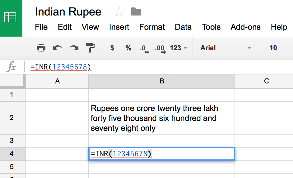 Indian Rupee in Google Spreadsheets