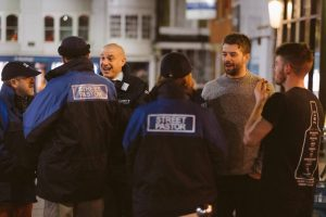 street pastors talking to people in Winchester