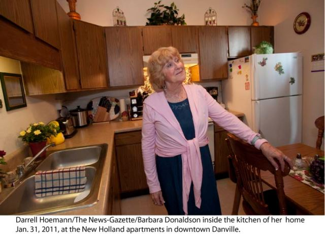 Darrell Hoemann/The News-Gazette/Barbara Donaldson inside the kitchen of her  home Jan. 31, 2011, at the New Holland apartments in downtown Danville.