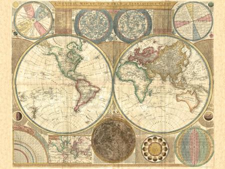 3MP593 - JOHANNE BAPTIST HOMANN - Planiglobii terrestris, 1716 (detail) {H11-Mapas}