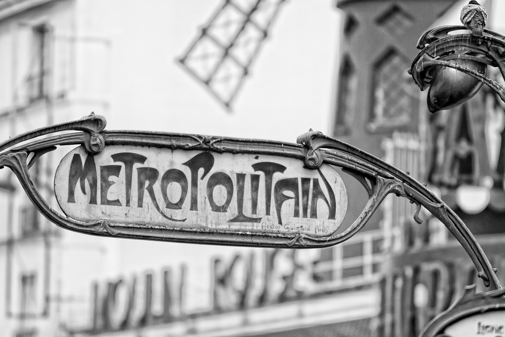 SH182903291 - Andrea Izzotti - Paris Metro Metropolitain Sign near Moulin Roug