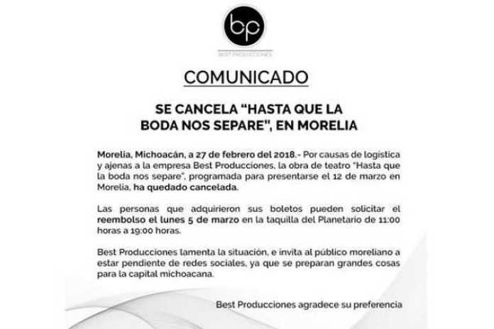 obra cancelada Morelia