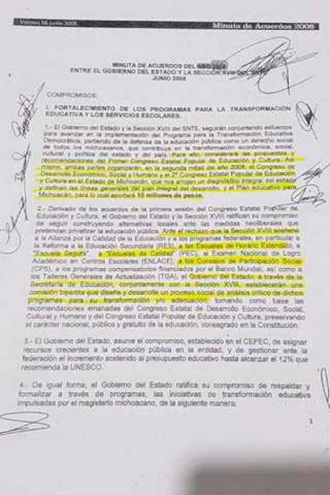 minuta CNTE gobierno Leonel Godoy