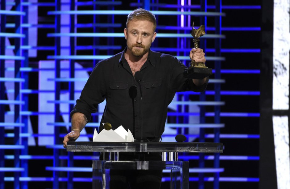 "Ben Foster accepts the award for best supporting male for ""Hell or High Water"" at the Film Independent Spirit Awards on Saturday, Feb. 25, 2017, in Santa Monica, Calif. (Photo by Chris Pizzello/Invision/AP)"