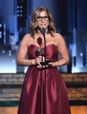 NEW YORK, NY - JUNE 10: Marjory Stoneman Douglar teacher Melody Herzfeld accepts the Tony Award for Excellence in Theatre Education the 72nd Annual Tony Awards at Radio City Music Hall on June 10, 2018 in New York City. (Photo by Theo Wargo/Getty Images for Tony Awards Productions)