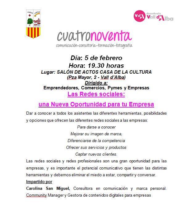 Jornada sobre Redes Sociales para empresas y emprendedores en Vall d´Alba