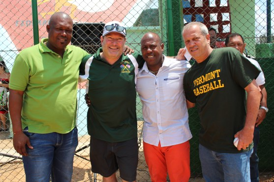 From left to right: Omar Linares, a Cuban baseball great and former third baseman for Pinar del Rio, Vermont coach Tom Simon, Oscar Tabares, Centerfielder for the Havana Industriales and Jorge Luis Timoneda, Program Organizer at the Jose Marti Center.