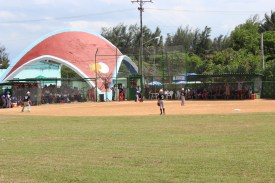Playa stadium, the site where the Vermonters play all their games this week.